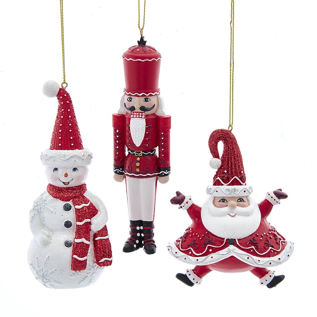 Ornament rood wit Kunststof h12 cm