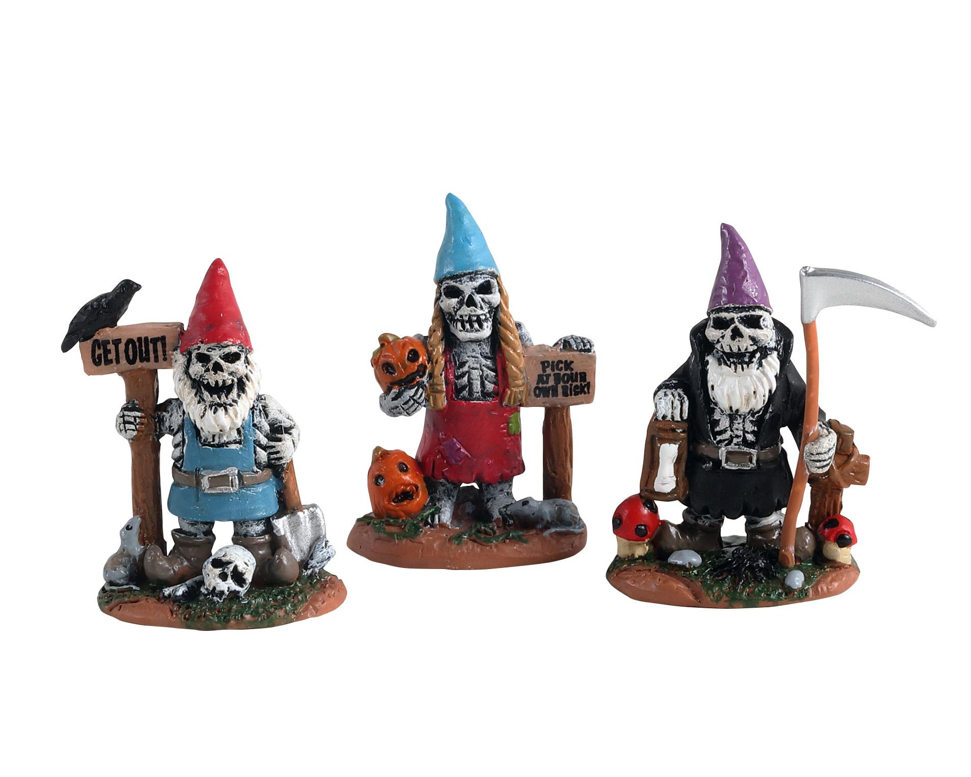 Skeleton garden gnomes, set of 3