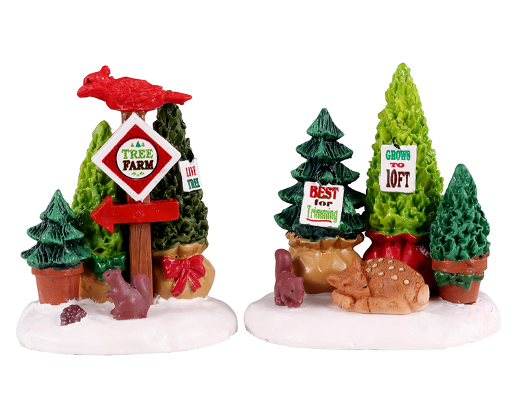 Tree farm display, set of 2