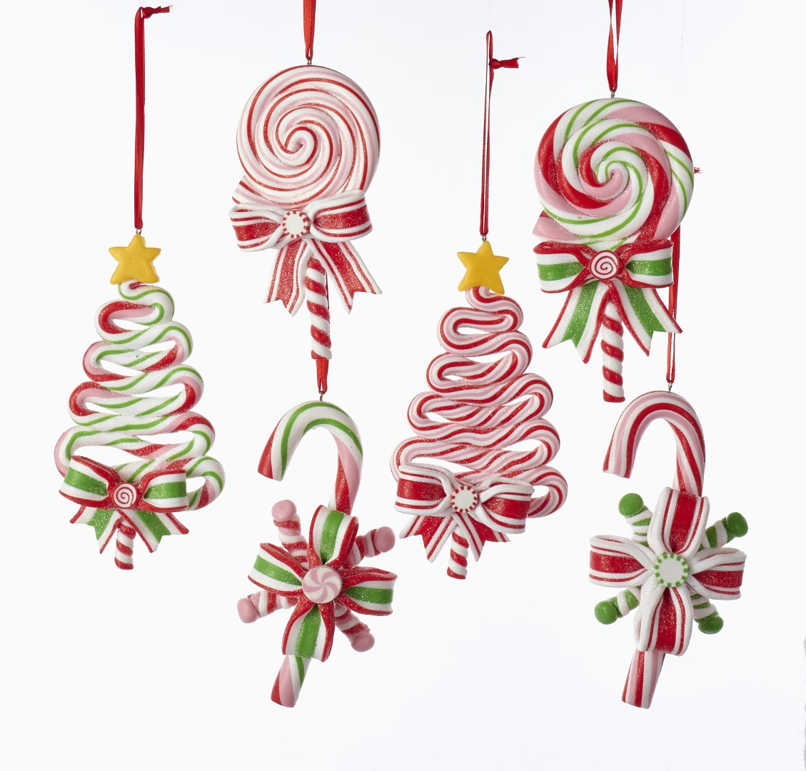 Claydough candy cane, tree & lollipop orns assorted.