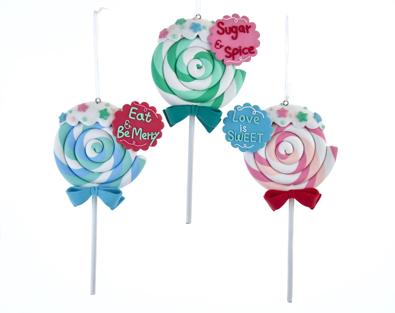 Claydough lollipop ornament assorted: 'sugar & spice,' 'eat & be merry' & 'love is sweet.'