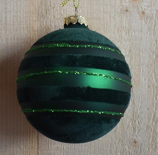 glass flock ball dark green green glitter