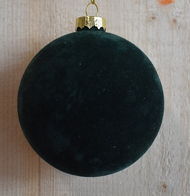 glass flock ball dark green