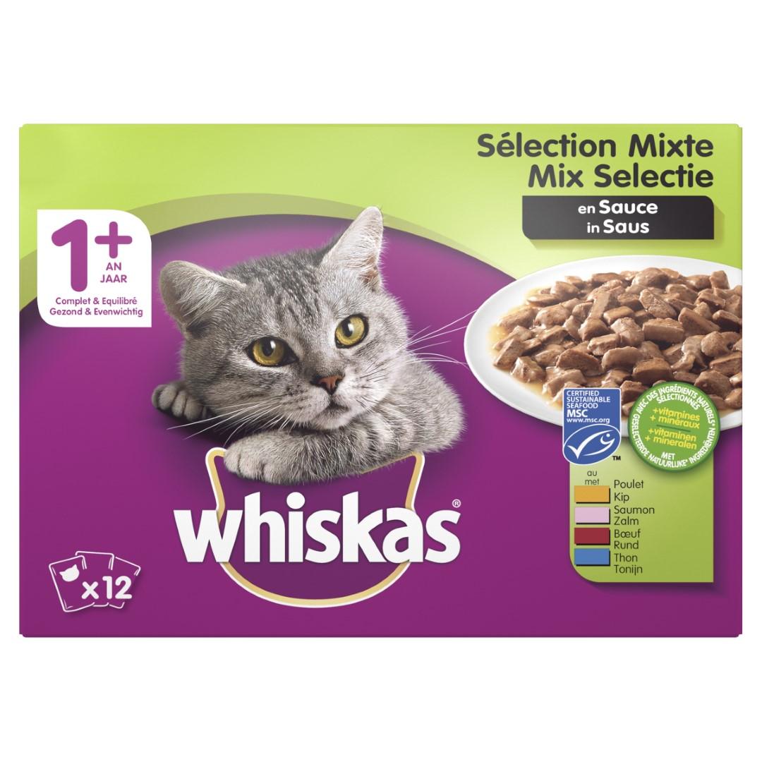 Kattenvoer 1 Mix in saus maaltijdzakjes multipack 12x100 g Whiskas