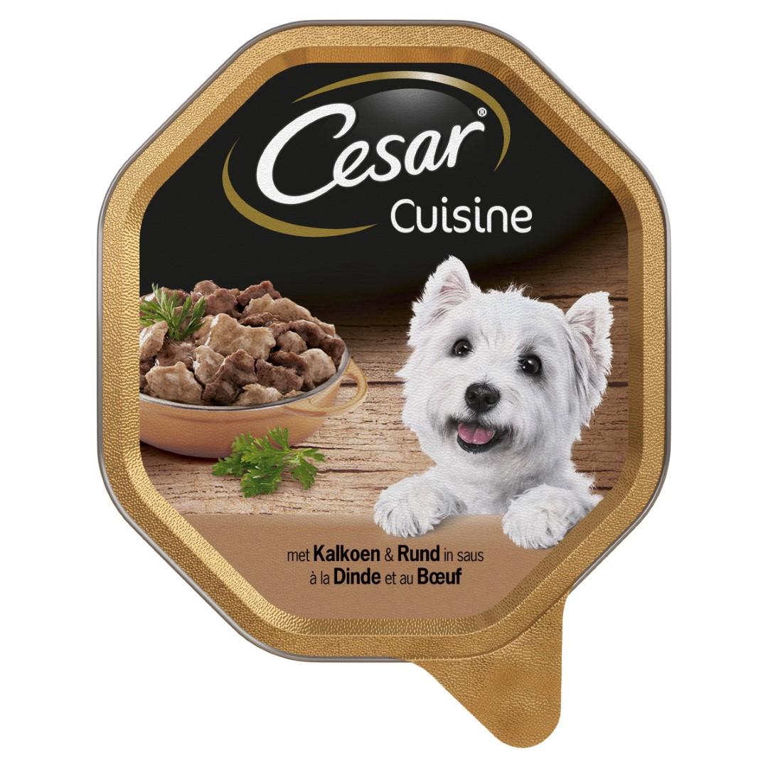 Hondenvoer Cuisine Kalkoen en Rund in saus alu kuipje 150 g Cesar