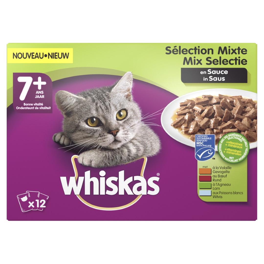 Kattenvoer 7 Mix in saus maaltijdzakjes multipack 12x100 g Whiskas