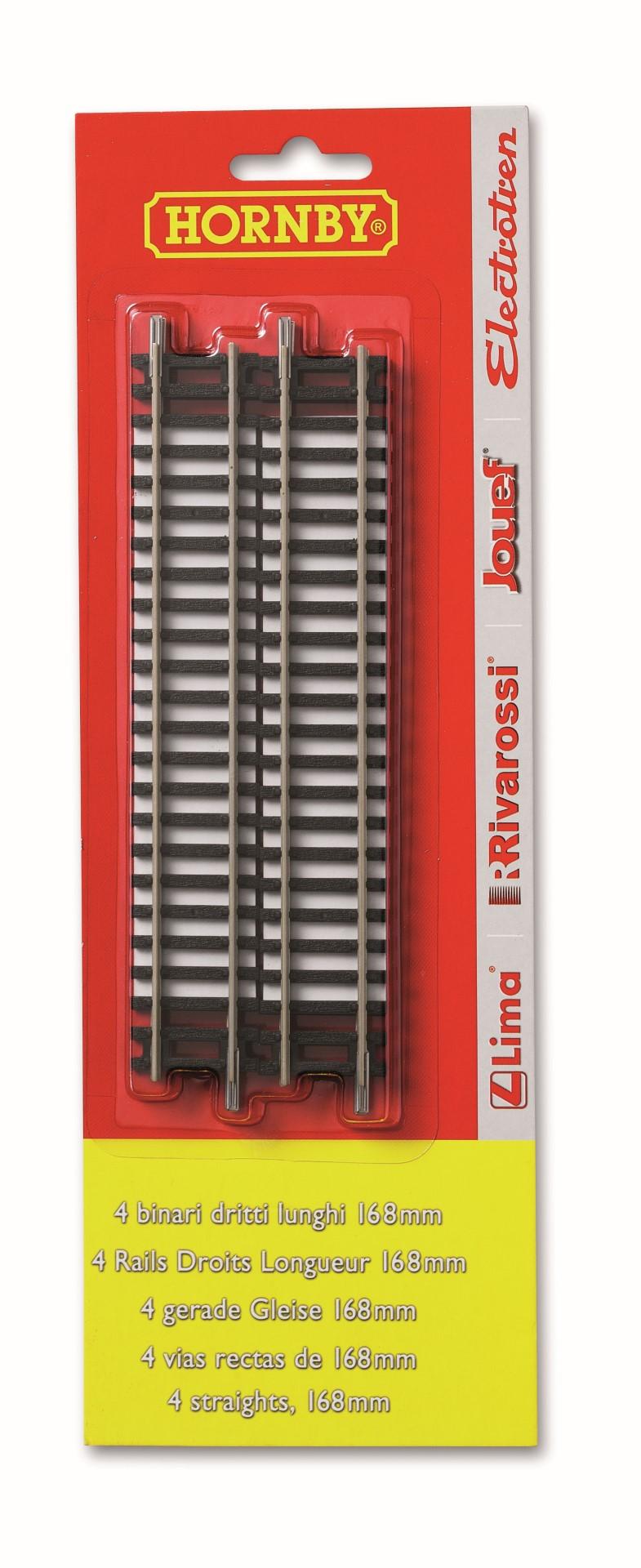 4 rechte rails 168 mm