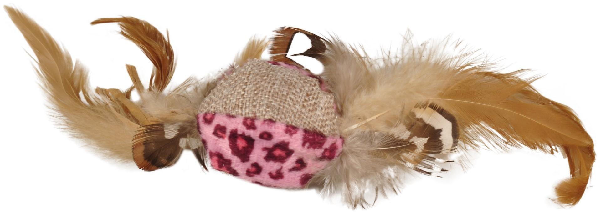 Kattenspeelgoed leopard bal met veren assorti Flamingo