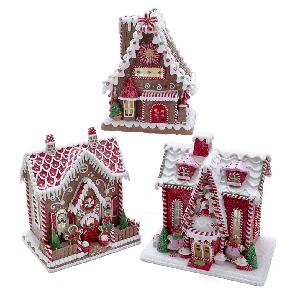 Gingerbread House With LED Light Battery Operated 9-10 Inch