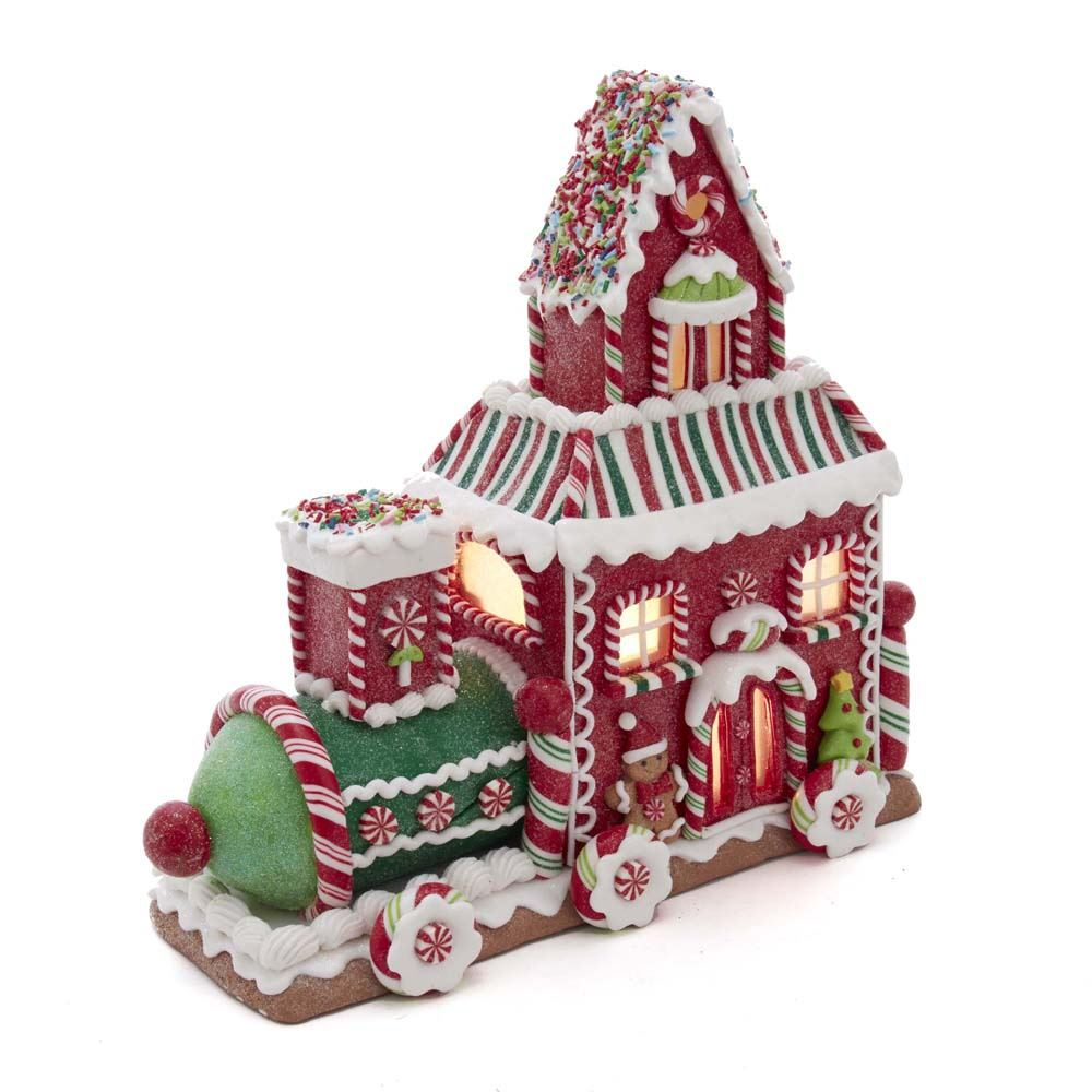 Gingerbread Train House LED Lght 10.5 Inch