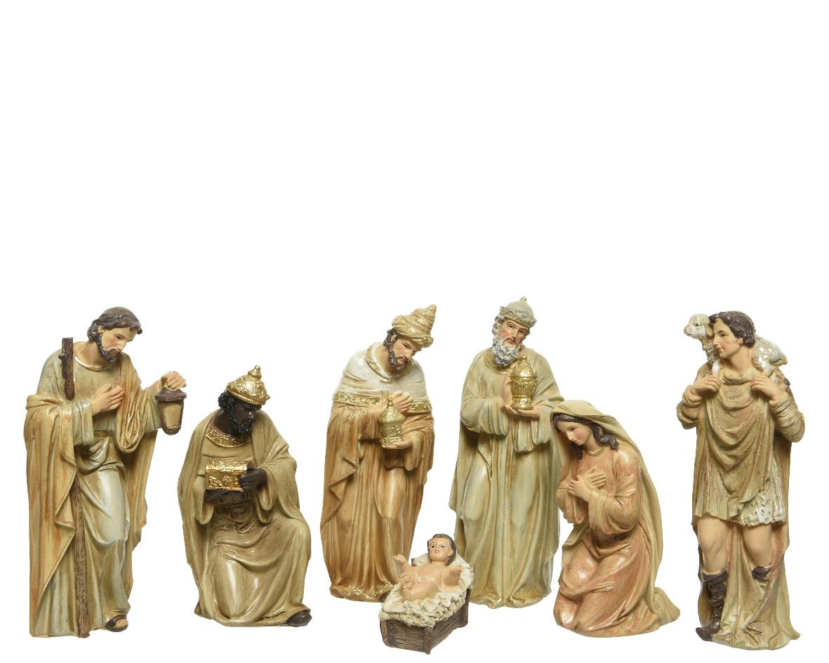 Kerstgroep poly h20 cm goud 7st
