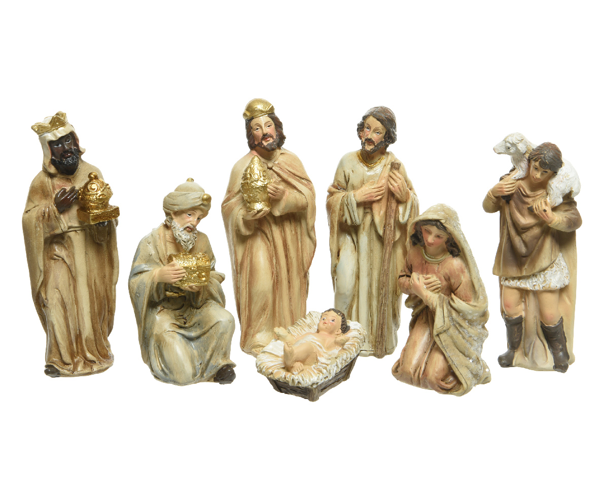 Kerstgroep poly h12 cm goud 7st