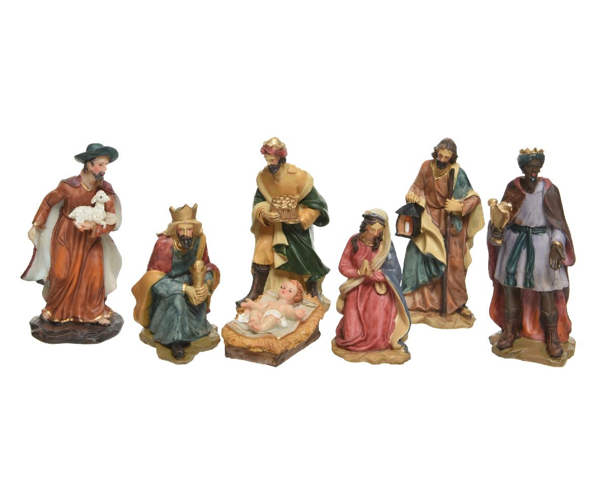 Kerstgroep poly 7 figuur h15 cm mlt