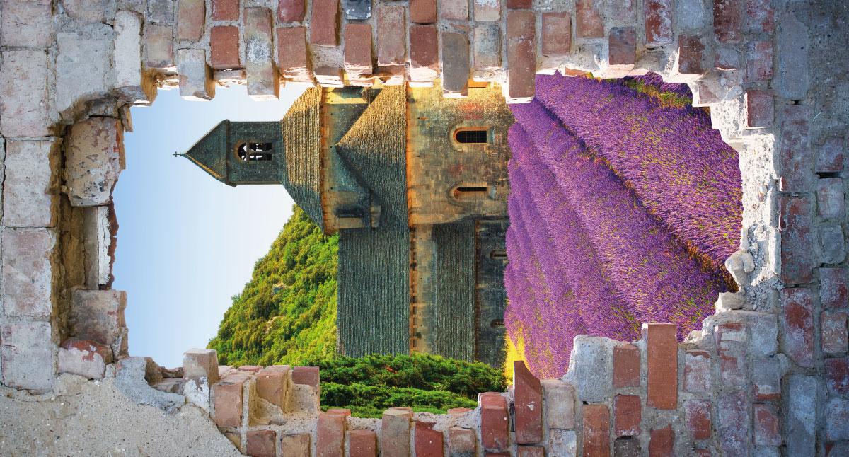 Tuinschilderij doorkijk lavendel muur 70x130 cm