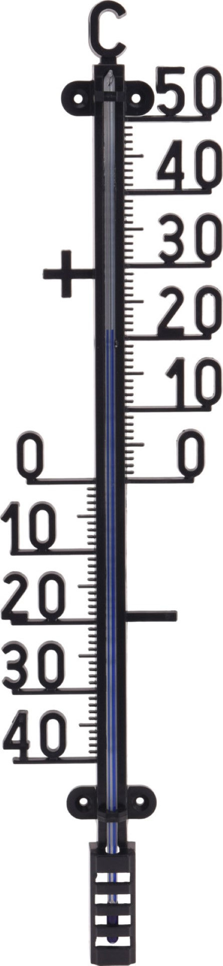 Thermometer 41x10cm zwart