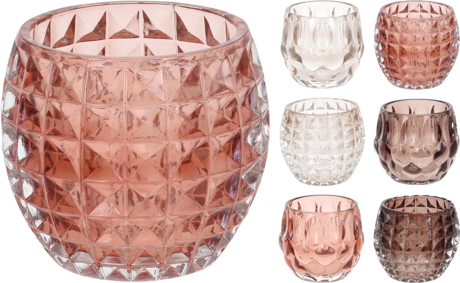 Theelichthouder glas rond 8cm