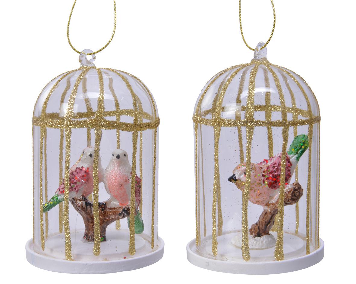 Vogelkooi glas d6,5h10 cm goud a2
