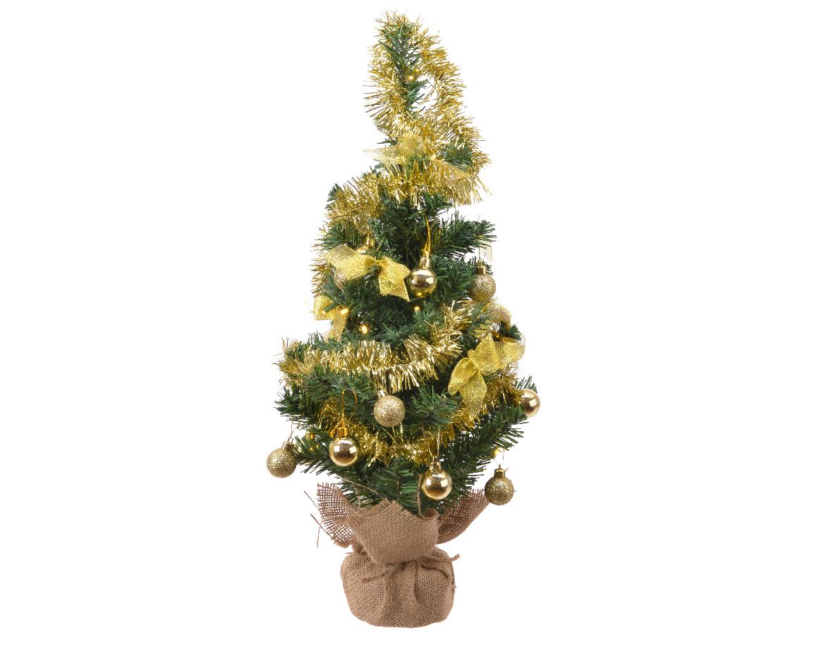 Everlands Mini kerstboom tafelboom mini D-H-Z zak boom h60 cm-20L groen/goud