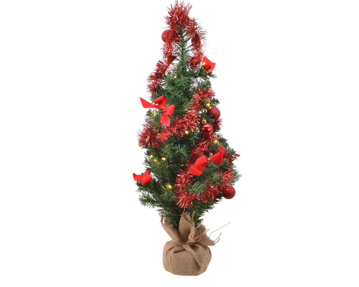 Everlands Mini kerstboom tafelboom mini D-H-Z boom h60 cm-20L groen/rood
