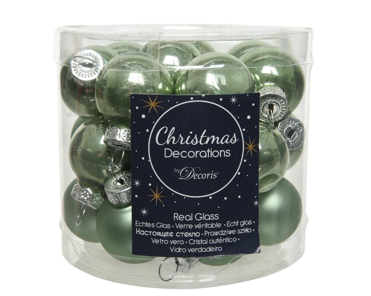 kerstbal glas d2.5cm s.groen 24st