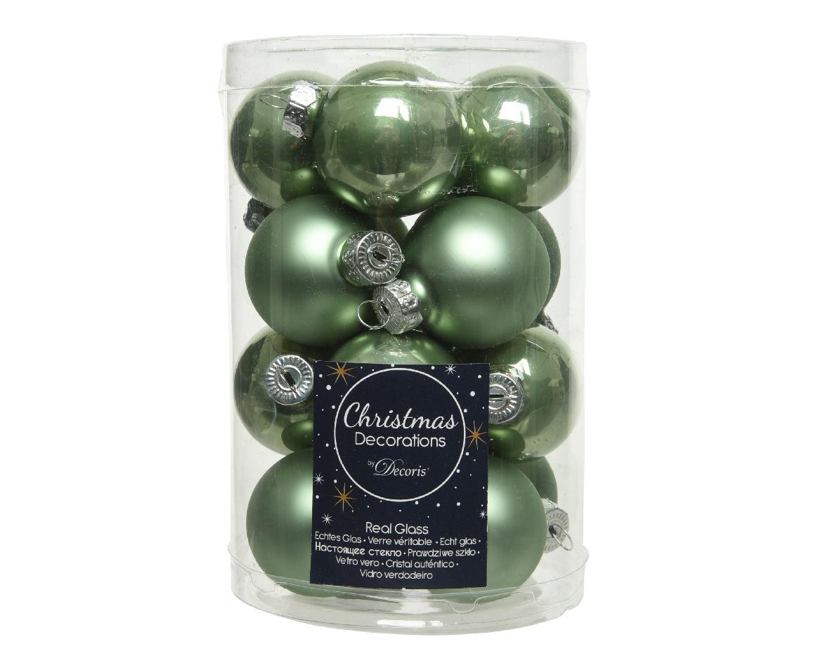 kerstbal glas d3.5cm s.groen 16st