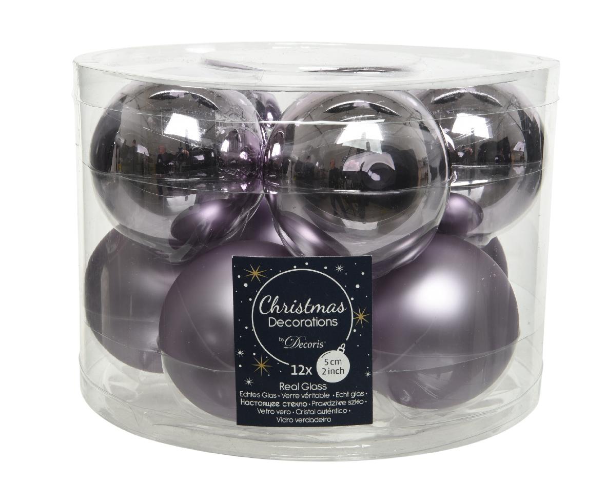 kerstbal glas d6cm b.lila 10st