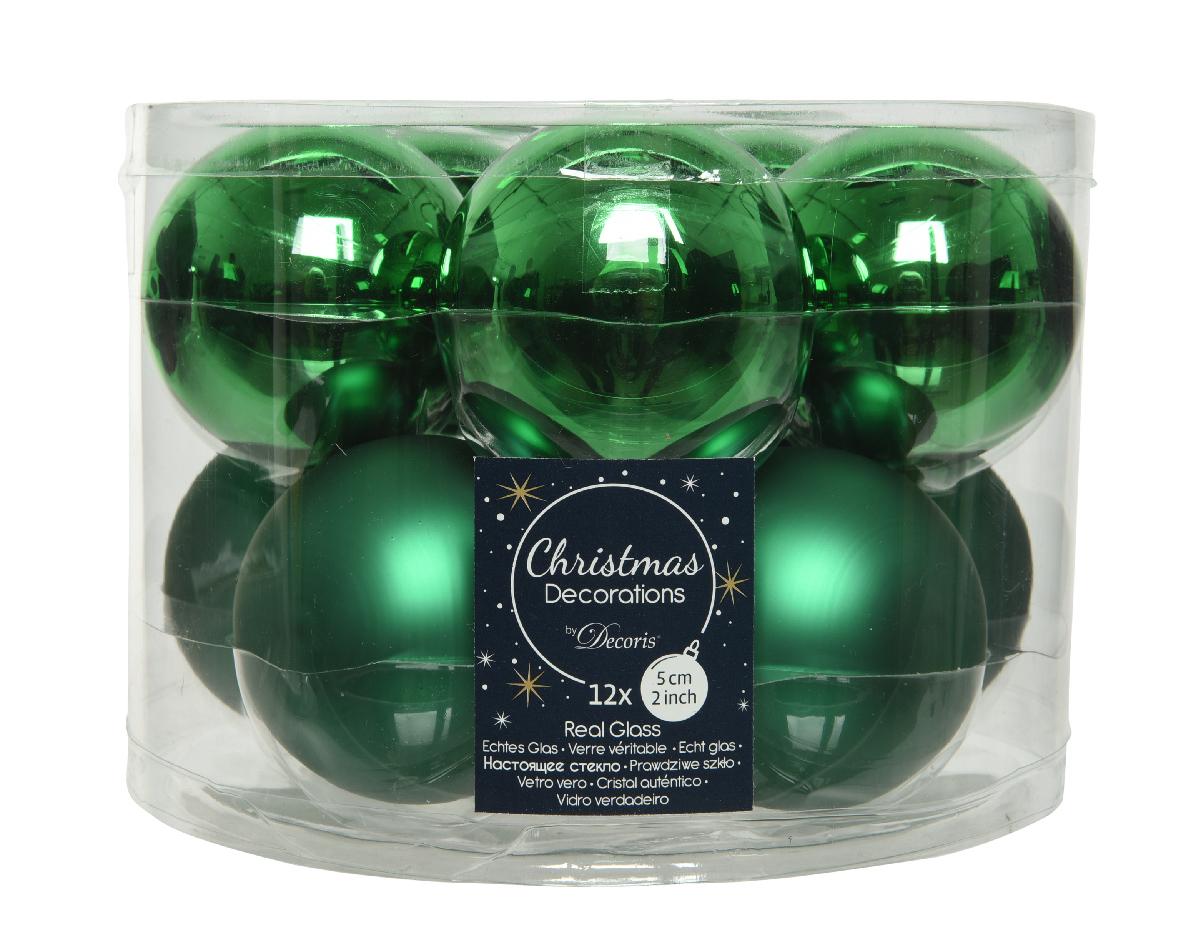 kerstbal glas d6cm h.groen 10st