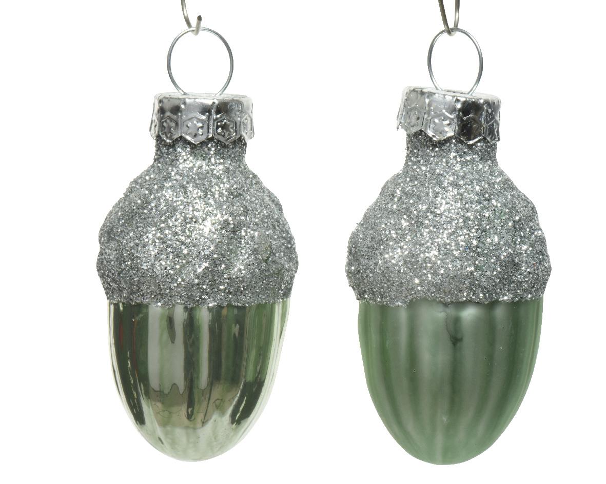 Eikel glas d3h4 cm salie groen 12st