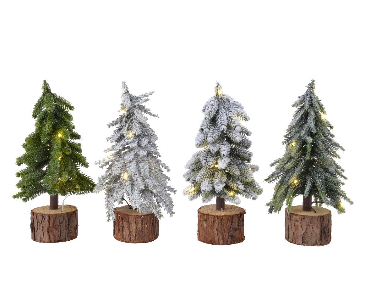 Mini kerstboom tafelboom mini voorverlichte boom h28 cm-10L groen/wit
