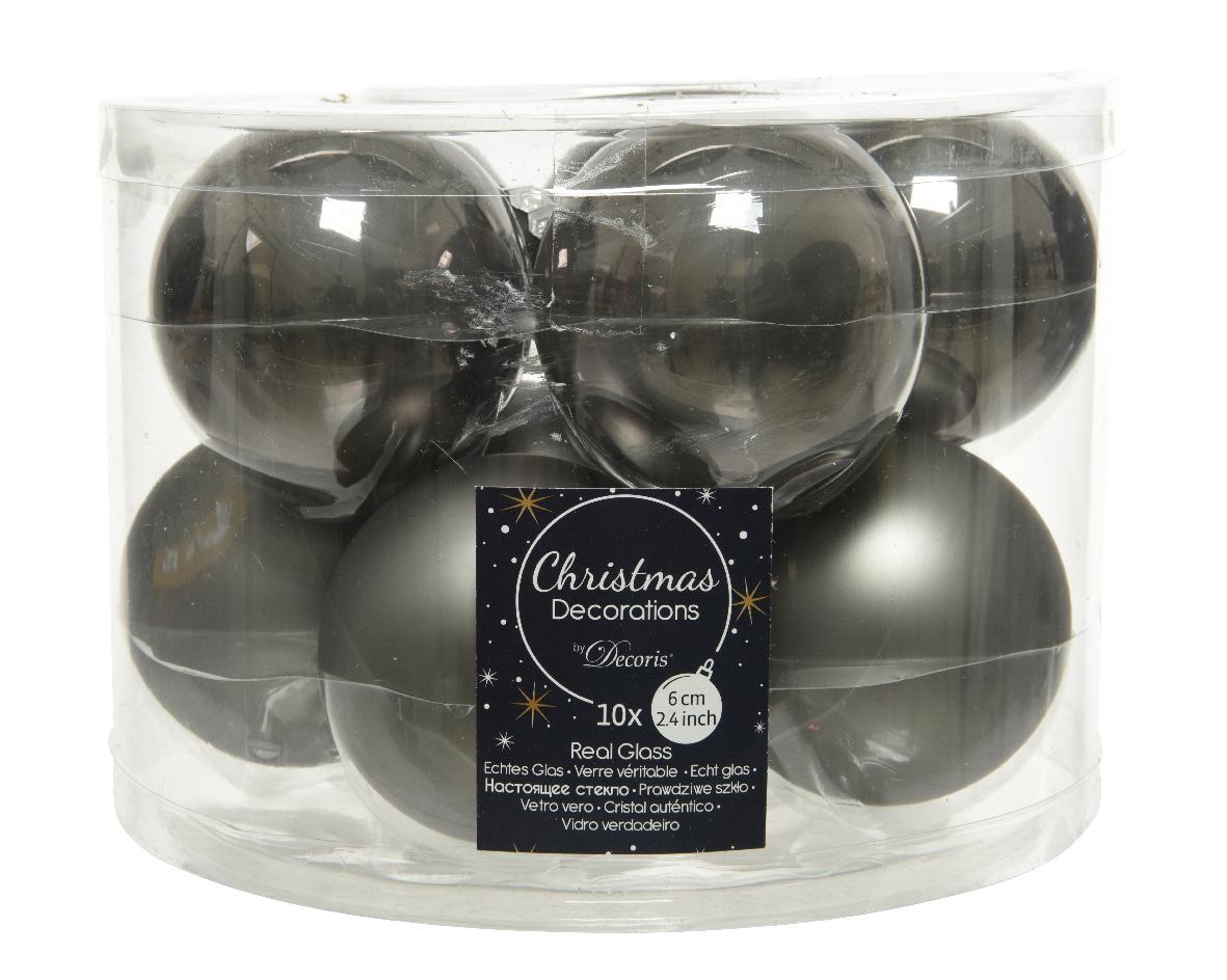 Kerstbal glas d6cm w.grs ass 10st