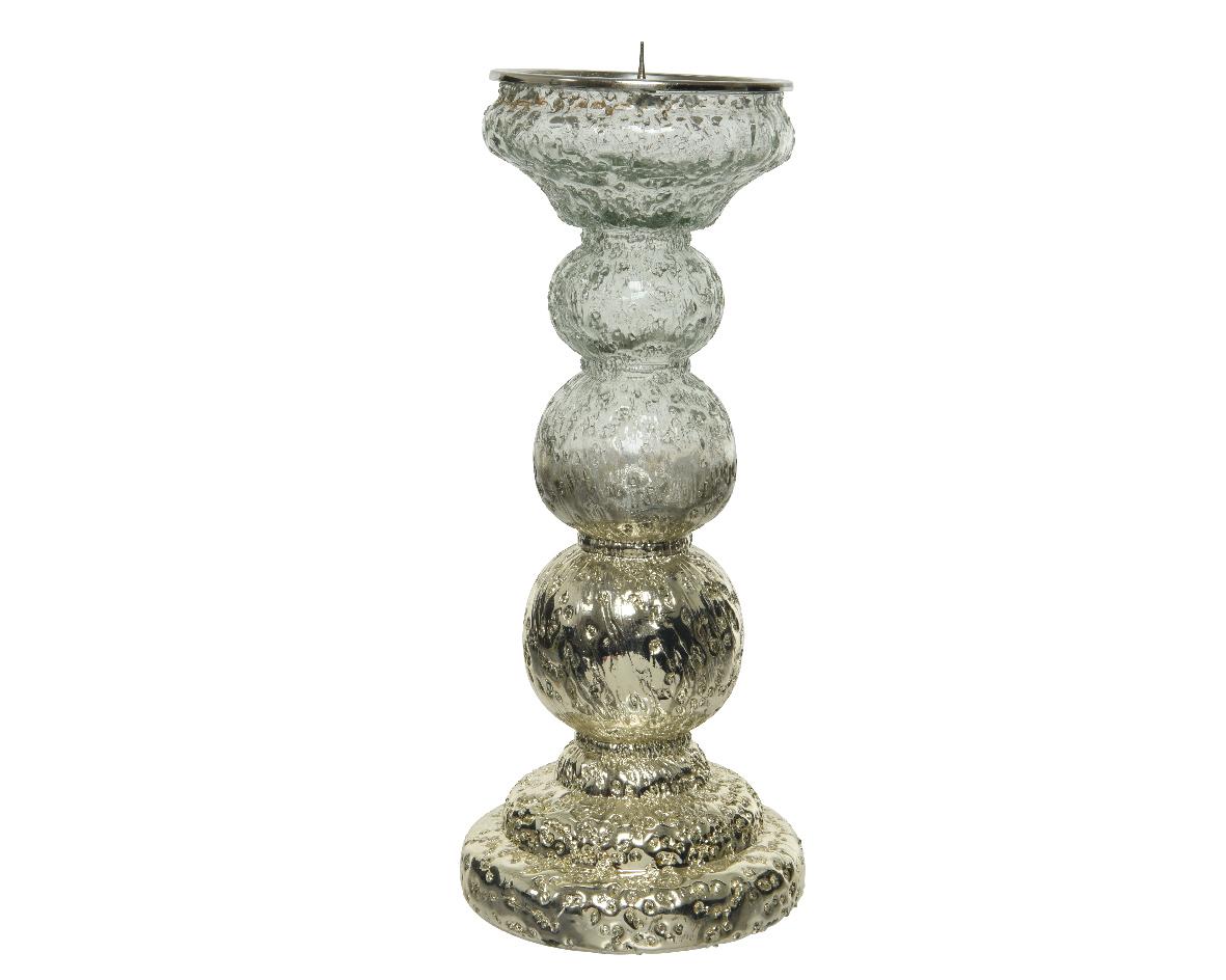 Kandelaar glas l11b11h27cm gd/hldr