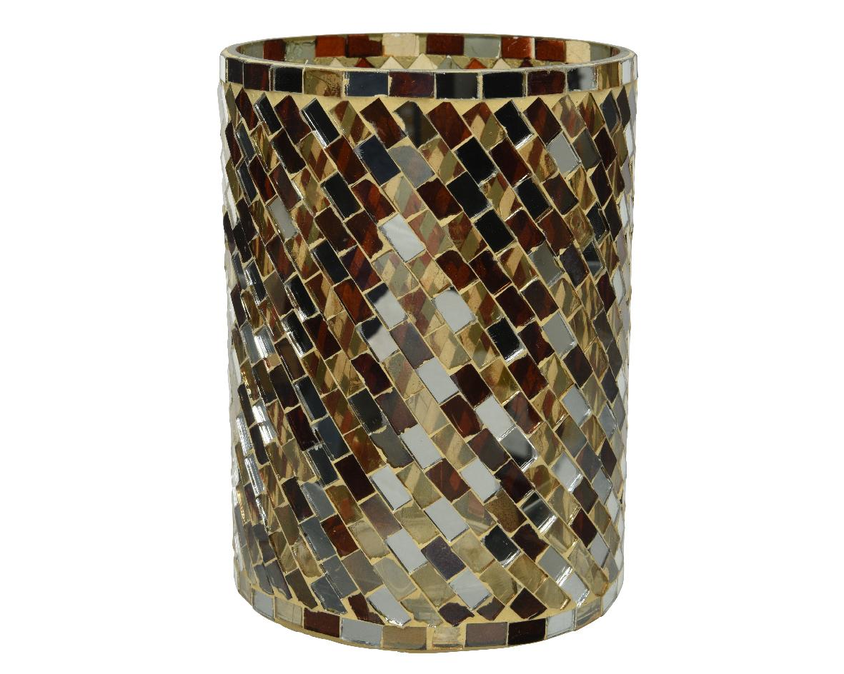 Theelichthouder glas d10h13cm bruin