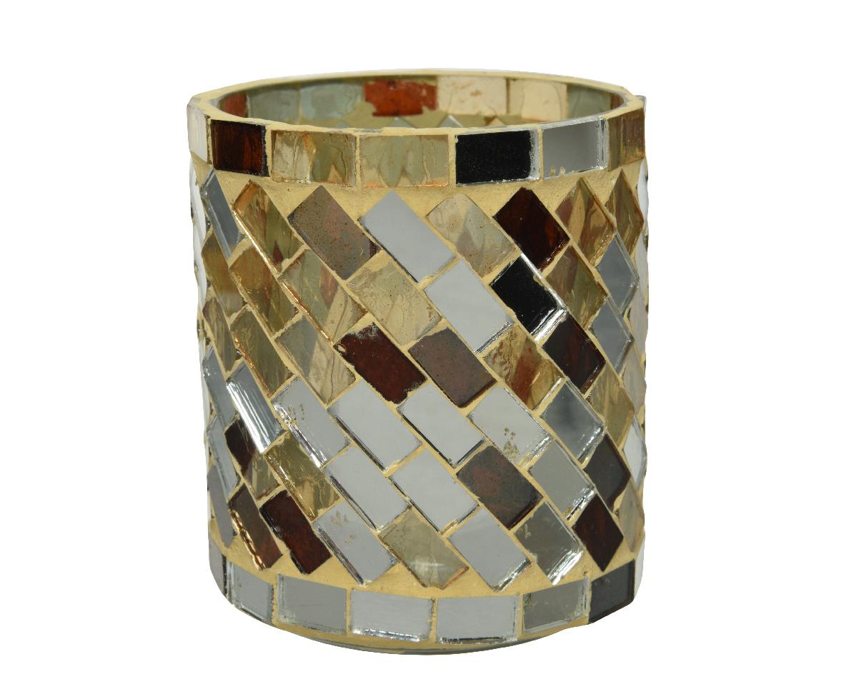 Theelichthouder glas l7b7h8cm bruin