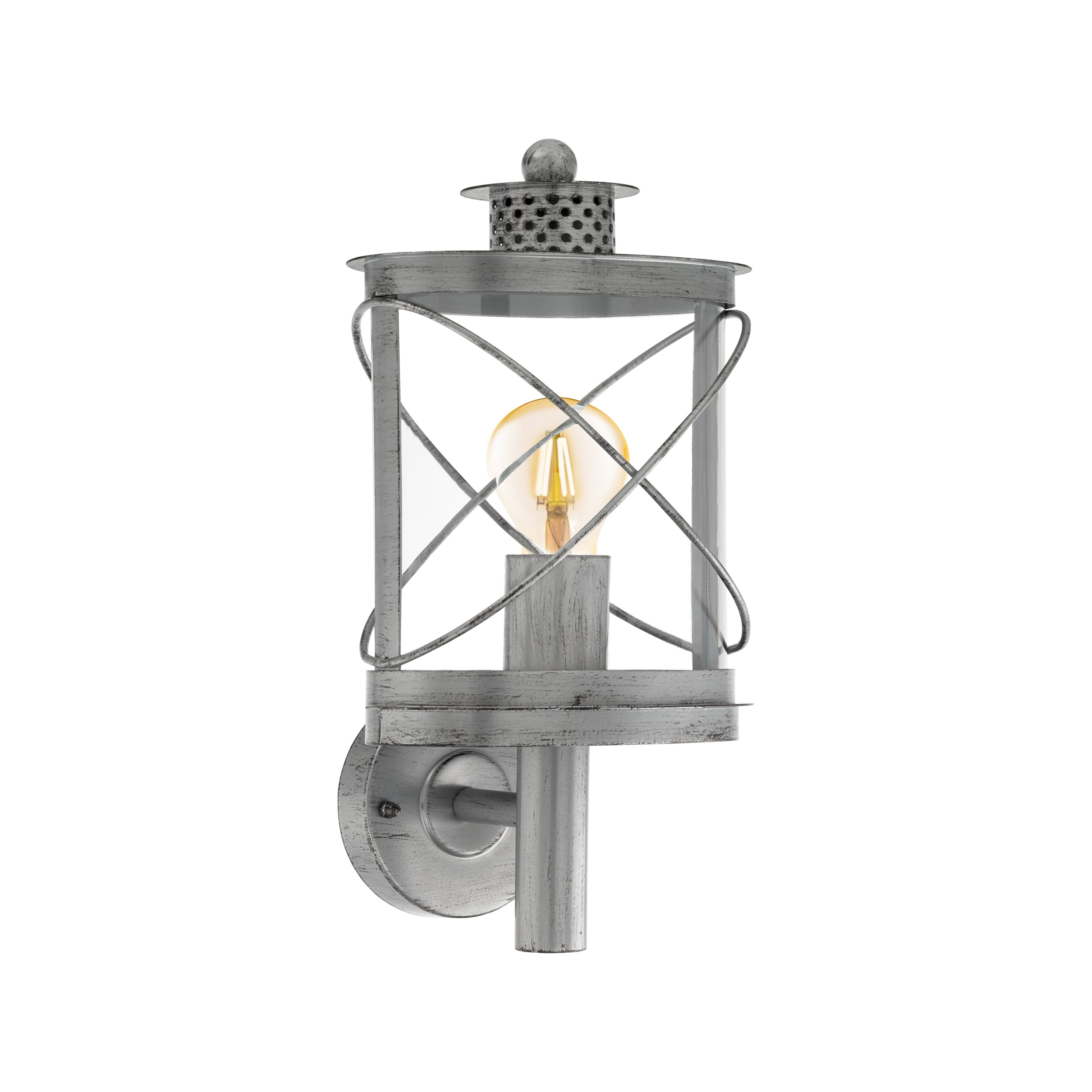 Wandlamp antiek-zilver opwaarts hilburn 1 E27