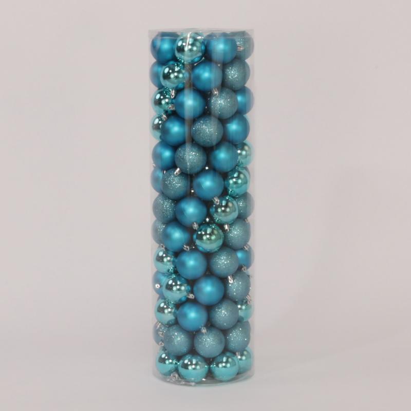 100 Onbreekbare kerstballen in koker diameter 6 cm blauw classic