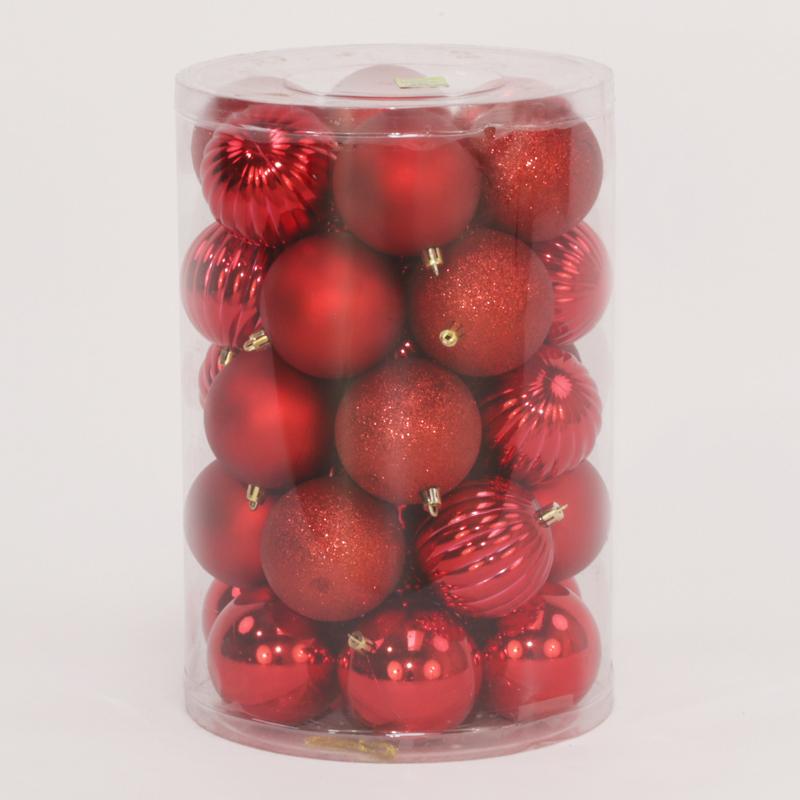 34 Onbreekbare kerstballen in koker diameter 8 cm rood watermeloen