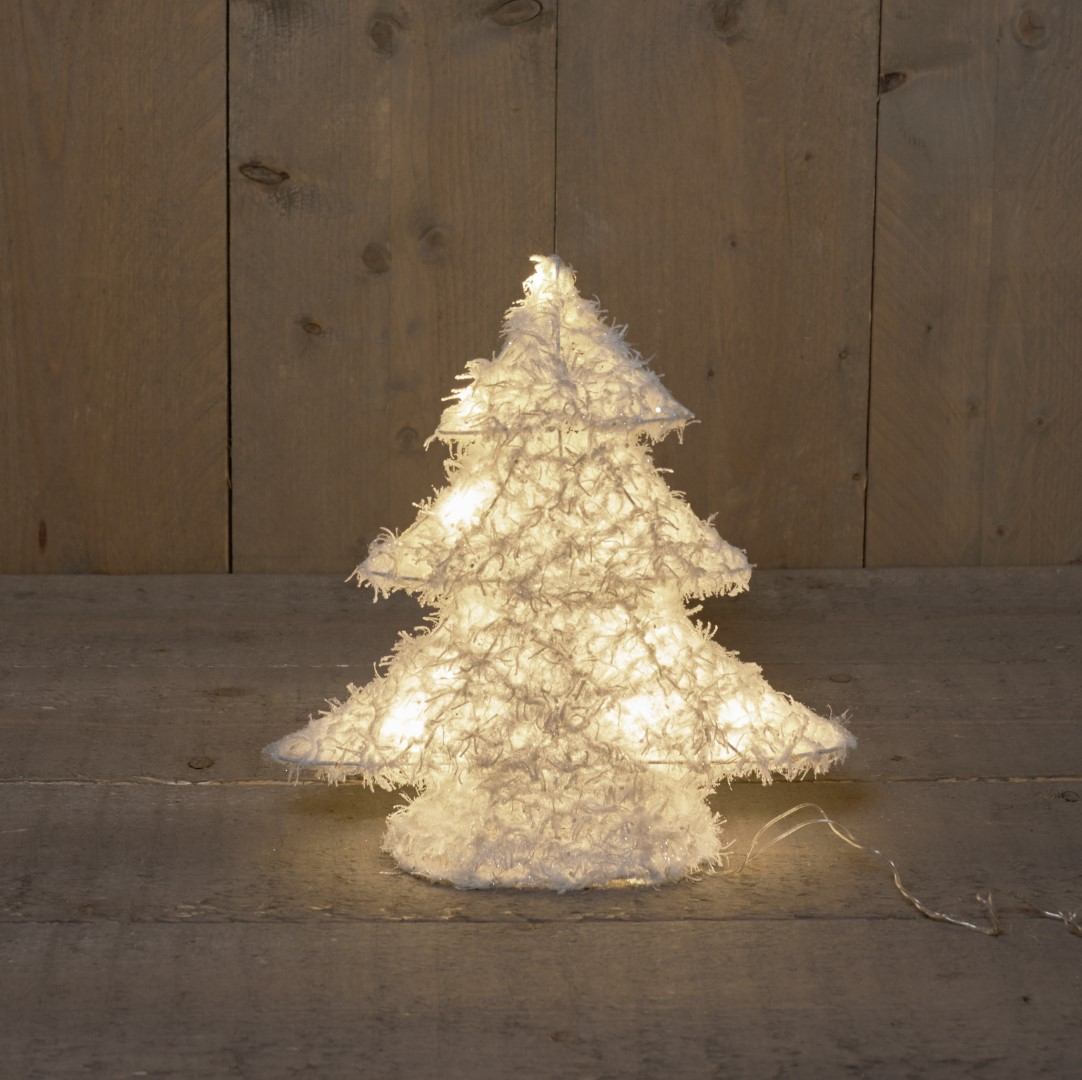 Anna's Collection B.o. kerstboom katoen/glitter 30cm/10led warm wit / 2aa