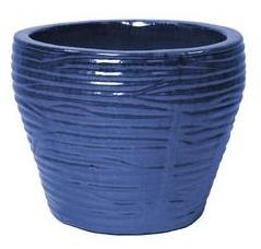 Vaas ribbel Glazed d46h38 blauw