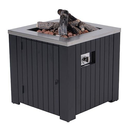 Cozy Living sfeerhaard Faro carbon black aluminium 80x80 cm