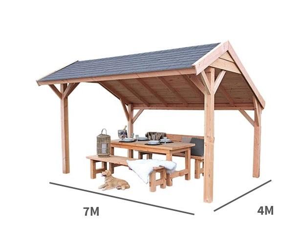 Kapschuur Landleven 700 x 400 cm incl dakbedekking