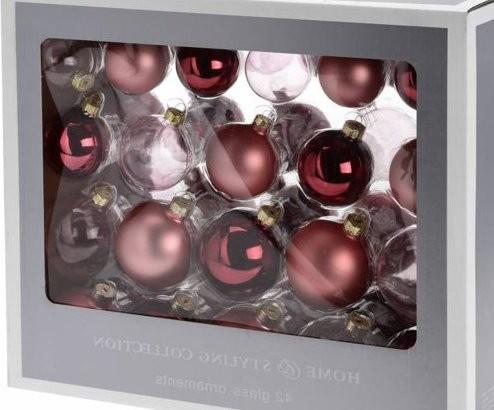 Kerstballen glas roze