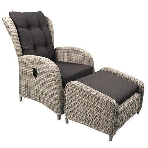 Gardolo Loungestoel met voetenbank verstelbaar Off White
