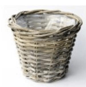 Planter Rattan rond grey D43 H40 cm (L)