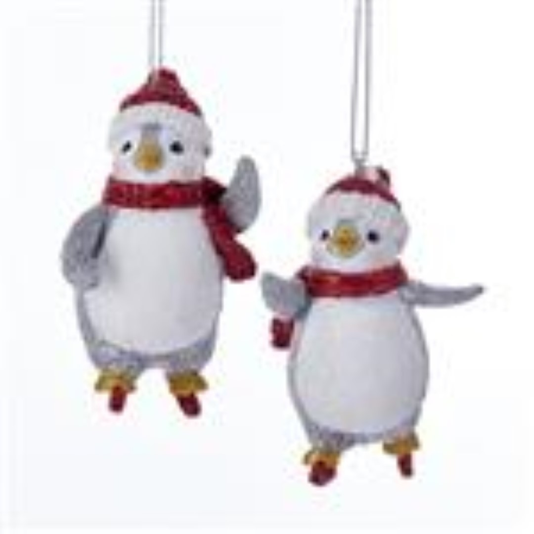Skating Penguin Red & Silver 3 Inch
